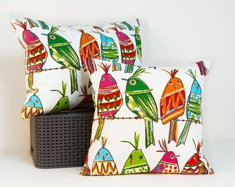 Bird Pillow Cover, CLEARANCE SALE Pillow Cover with Colorful Whimsical Birds, Sitting Pretty Cover with Invisible Zipper