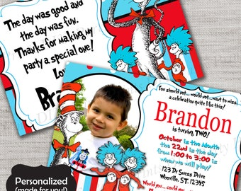 Cat in the Hat Birthday invite,Dr Seuss invite,JPG file,Invite,Thank You Card,Thing 1 & 2 Birthday Party Invite,DPP37