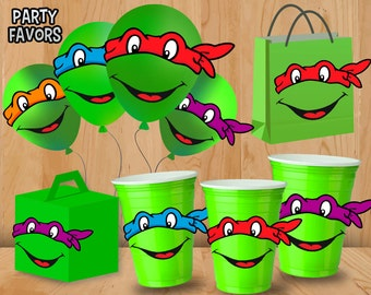 TMNT Eyes Stickers  - INSTANT DOWNLOAD - Party favor label tags printable - Teenage Mutant Ninja Turtle Party Sticker Set