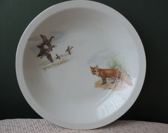 Bareuther Waldsassen Large Bowl with Fox and Bird Vintage Bavaria Germany