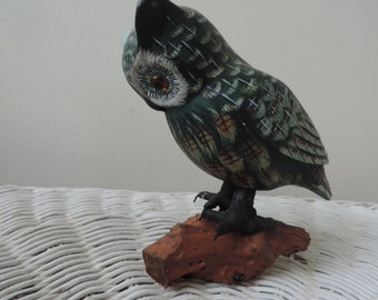 Hand Painted and Carved Owl Vintage