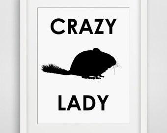 Funny Printable, Chinchilla lover, chinchilla poster, chinchilla print, funny wall art, chinchilla decor, printable women gift, crazy lady