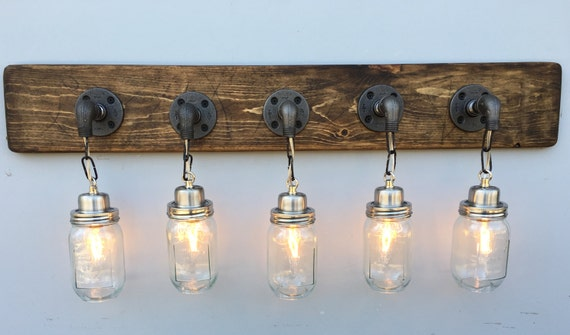 Rustic Industrial Modern Mason Jar Lights Vanity Light: Vanity Light Fixture 5 Country-Style Mason Jar Light By