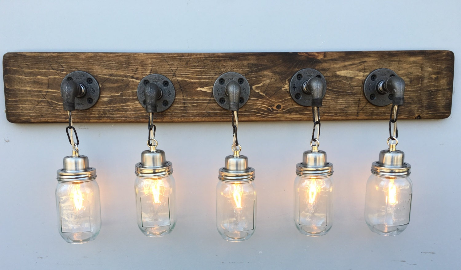 vanity light fixture 5 country style mason jar light by lightrooom. Black Bedroom Furniture Sets. Home Design Ideas