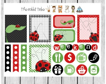 Weekly sticker set - ladybugs - planner stickers