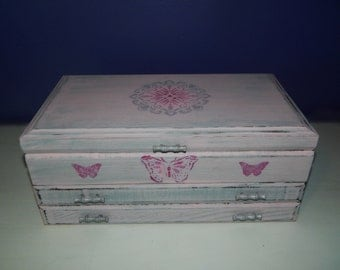 Jewelry Box,Vintage,Upcycle,Chalk Paint,Floral Print Fabric, Stenciled,Pink and grey,Distressed