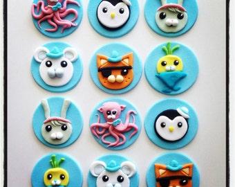 12 x  edible fondant octonauts cupcake Toppers