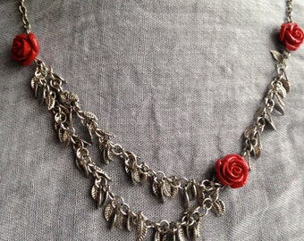Regal Red Roses Necklace