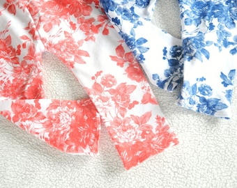 Country Charm Floral Baby Girl Leggings (Coral, Blue, White) Newborn, Infant, Toddler, Kids, Film Grain Flowers on Cotton Spandex Knit