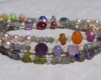 Opal Necklace, Ethiopian Opal Necklace, Labradorite Necklace, Ruby Necklace, sapphire Necklace, Tanzanite Necklace, Lapis Lazuli Necklace