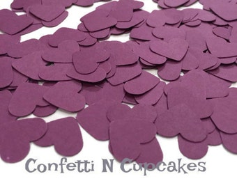 Party Confetti, Heart Confetti, Purple decor, Purple Hearts, birthday party decor, dark purple confetti, flower girl toss, table scatter