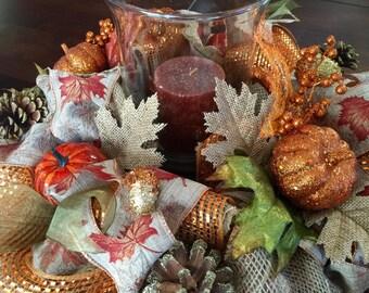 Thanksgiving centerpiece, Fall centerpiece, Burlap Centerpiece, Autumn Decor, Thanksgiving Candleholder, Thanksgiving Decor, Fall Decor