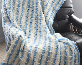 Heirloom White Light Blue Striped Afghan Throw