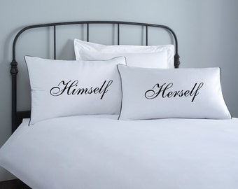 Himself & Herself Pillowcase set - 2 pillow covers - home wedding gift - engagement gift - anniversary gift - couple pillowcase- valentines