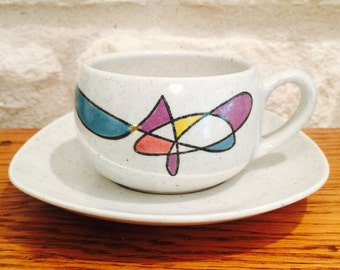 Metlox Poppytrail Tea Cup and Saucer - California Freeform Contempora