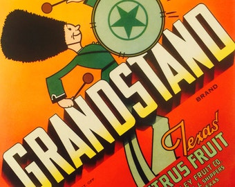Fruit Crate Label for Grandstand Texas Citrus Fruit circa 1930's