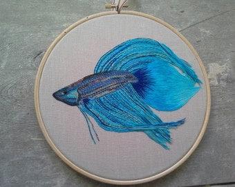 Betta Fish - Embroidery Art - Hoop Art