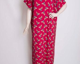 SALE-Loose maxi casual  beach resort dress , dragonfly patterned  dress ,beach dress,deep red.