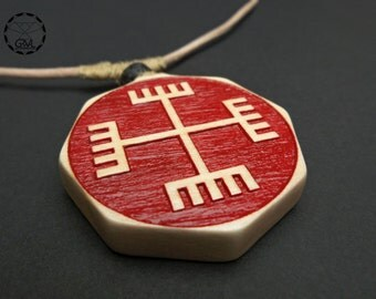 Hands of God - Red Necklace, Slavic Symbol, Oak Wood Pendant with Volcanic Lava stone
