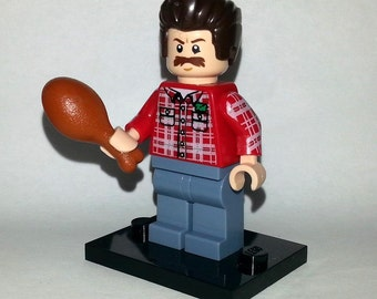 Parks and Recreation - Ron Swanson Custom Lego Minifigure - Classic