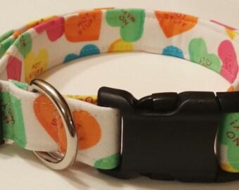Dog Collar, Conversation Hearts, Valentines Day, Cupid, Valentines day dog collar