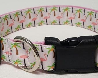 dog collar, flamingos and palm trees, flamingo dog collar, palm tree dog collar, flamingos, palm trees, flamingo collar, palm tree collar