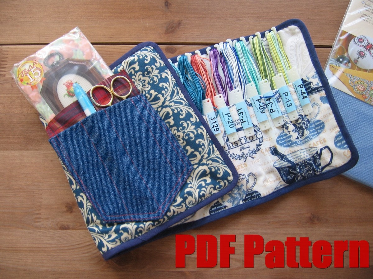 Diy pdf sewing pattern photo tutorial embroidery floss case