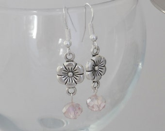 Silver Flower Earrings with Pink Crystal - Siver Dangle Earrings - Silver Daisy Earrings