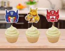 Angry Bird Transformers Party Cupcake Toppers Printables Download, Transformers cake topper, transformers party, transformers birthday