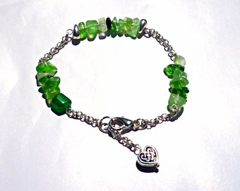 Green nuggets chain bracelet