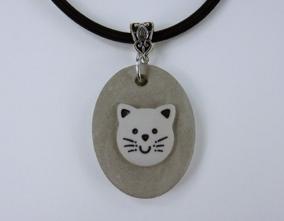Necklace Cat in grey concrete jewelry unique grey concrete on black silk ribbon cat concrete Jewelry Kitten Jewelry