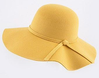Yellow Knot Floppy Hat, Wide Brim Hat, Floppy hat, big floppy hat, wide brimmed hat, felt floppy hat, large brimmed hat, gifts for her