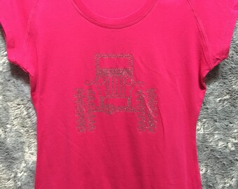 Jeep Rhinestone Bling Scoop Neck T-Shirt