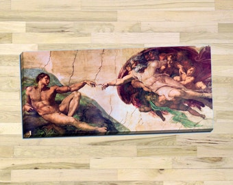 """Michelangelo """"Creation of Adam"""" Gallery Wrapped Canvas Giclee Print (Stretched-Border) - Free Shipping"""