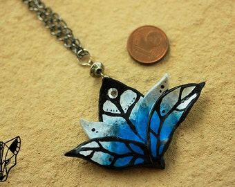 Fancy flower polymer clay pendant lotus necklace