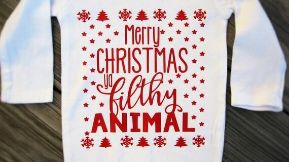 Merry Christmas Ya Filthy Animal Baby Bodysuit By