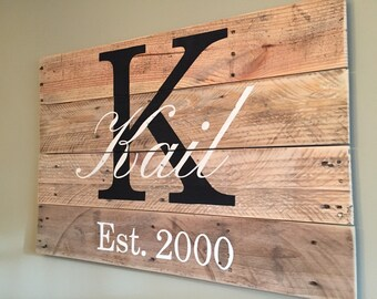 Large Family monogram pallet sign, Last name sign, Family name sign, Family Established personalized wooden sign, wedding, housewarming gift