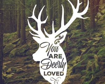 Loved Deerly Decal - Vinyl decal - Decals - Appliance Decal - Wall Decal - Rustic Decals - Autumn Decals - Fall Decals - Buck Decal - Deer