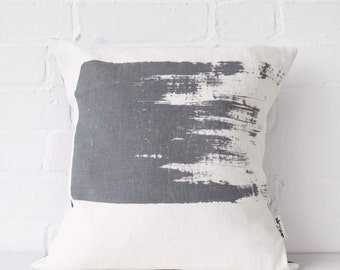 Grey cushion, throw pillow cover, hand screen printed cushion by Sarah Capel Printing. Natural linen fabric. Bold brushstroke design in grey