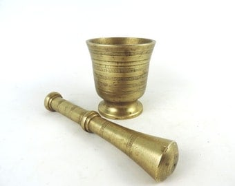 French Vintage Mortar and Pestle /Signed Large Solid Brass Mortar / French Apothecary