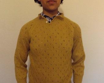 70s vintage mustard knitted jumper small