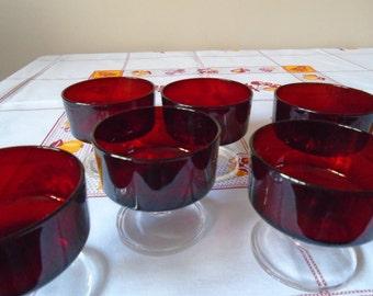 red glass pedestal desert dishes  France