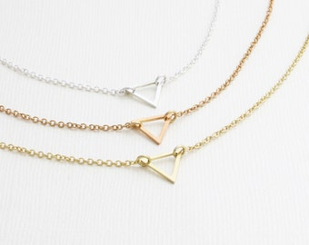 sterling silver tiny triangle necklace, floating trianle necklace, minimal, delicate necklace, little triangle necklace (HCN T 200 )