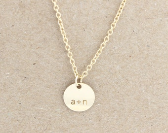 14 k gold filled personalized circle necklace, round necklace, nameplate necklace, initial necklace,stamp necklace