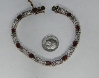 "Very Vintage Sterling Silver Garnet and White Topaz Goldtone Tennis Bracelet 7.5"""