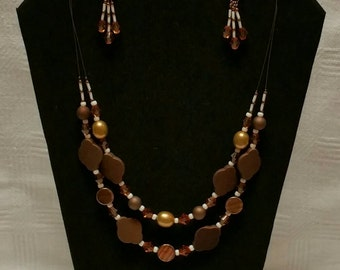 Brown Beaded Double Strand Necklace Set