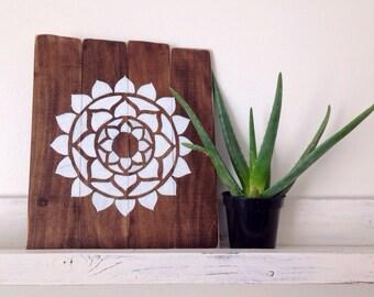 Wooden mandala wall art, rustic wood decor