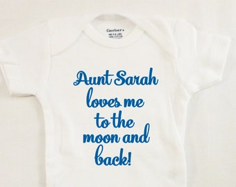 Baby Onesie Gift - Aunt Onesie - Gift for Aunt - Aunt Loves Me - Moon and Back - Baby Shower Gift - Personalized Onesie - Gifts for Aunts