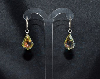 Crystal earrings swarovski sleepers and 925 Baroque drops 22x15mm crystal ab