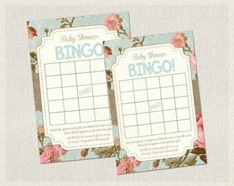 Baby Shower Bingo Shabby Chic Floral bingo game Instant Download Printable Baby Bingo floral burlap shabby chic bingo baby shower game BS-16